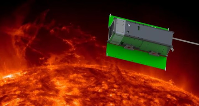 This image shows an artificial image of the MinXSS CubeSat observing the Sun. Credit: MinXSS Team