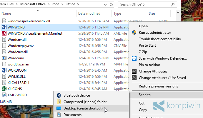 membuat shortcut dokumen terakhir microsoft word