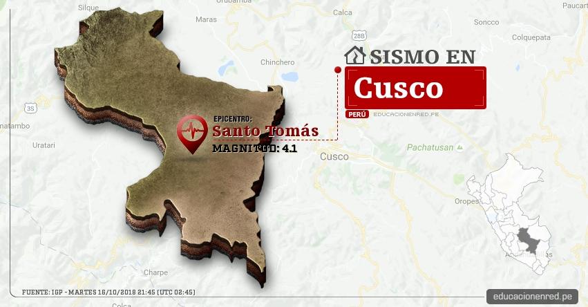 Temblor en Cusco de magnitud 4.1 (Hoy Martes 16 Octubre 2018) Sismo EPICENTRO Santo Tomás - Chumbivilcas - IGP - www.igp.gob.pe