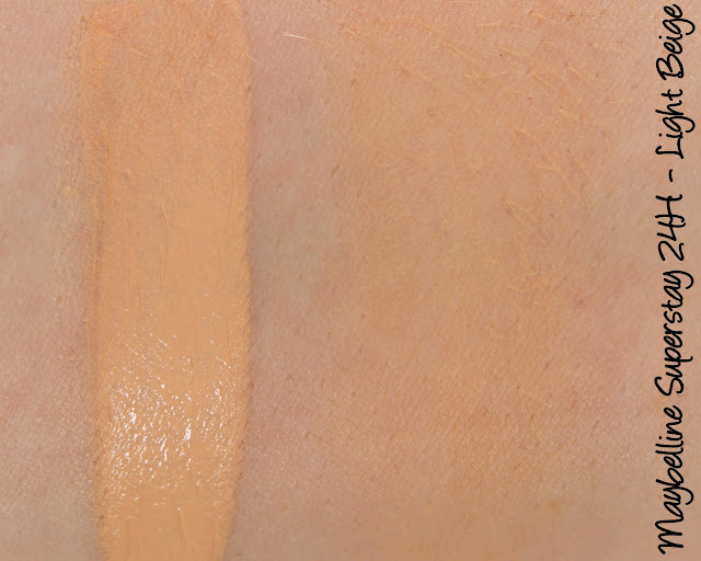 Maybelline Superstay 24H foundation Light Beige swatches & review