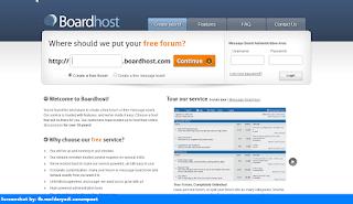 Boardhost homepage