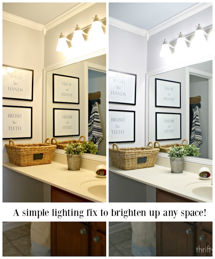 Daylight LED bulbs in bathroom