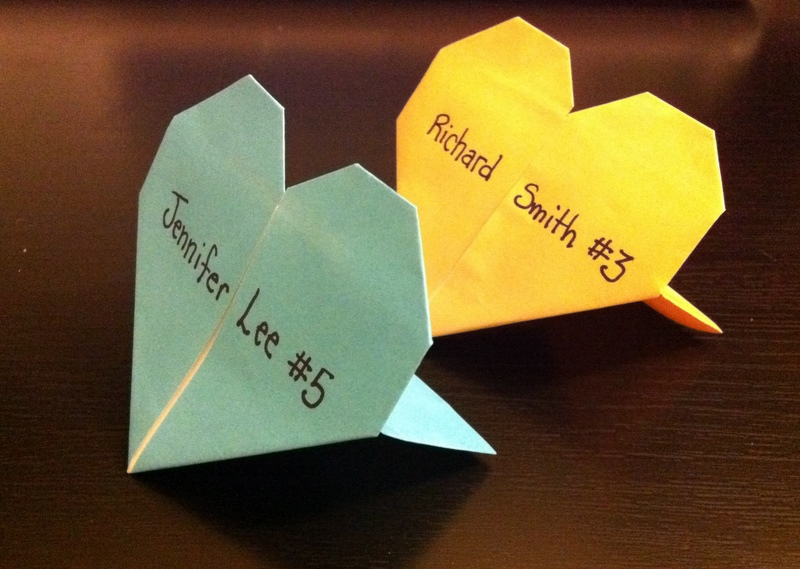 Wedding Diy Origami Heart Place Cards