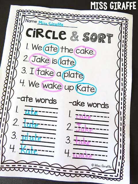 Long a word family activities and first grade worksheets - soo many ideas on this page for 1st grade reading and math!