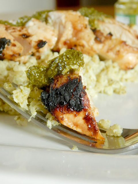 Healthy Grilled Chicken over Pesto Cauliflower Rice...healthy, light, refreshing, tasty!  An easy weeknight meal that will please the whole family. (sweetandsavoryfood.com)