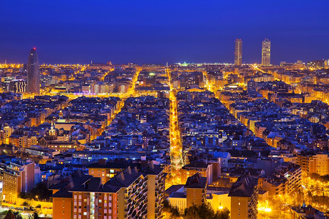 barcelona sunset night photography skyline