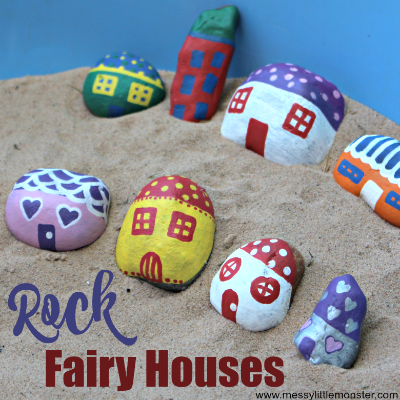 How to make painted rock fairy houses. Easy rock painting ideas for kids. Use a few rock painting supplies to do pebble painting and make fun painted rocks crafts. Easy fairy garden ideas for preschoolers upwards.