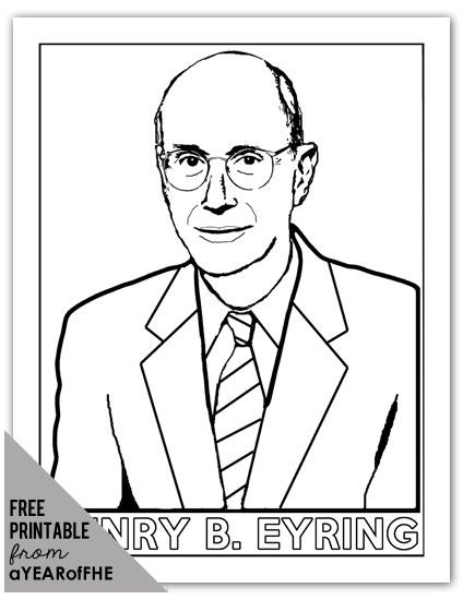 A Year of FHE // LDS coloring page of Henry B. Eyring.  #lds #ldsconf