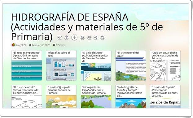 12 actividades y materiales sobre la HIDROGRAFÍA DE ESPAÑA en 5º de Primaria