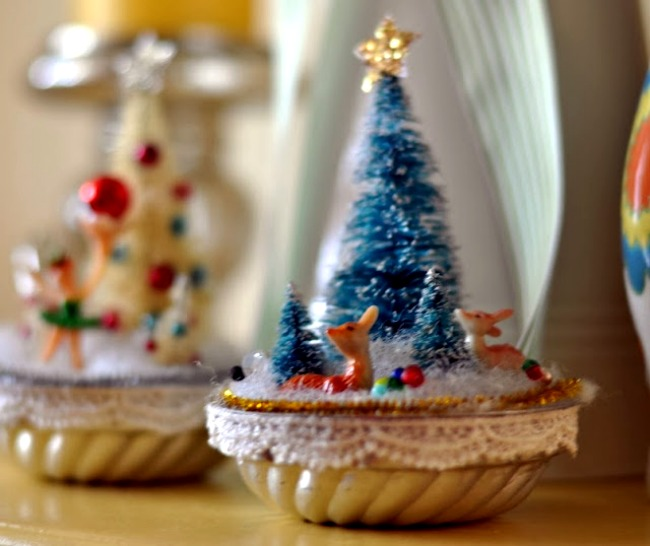 Christmas scenes in vintage jello molds