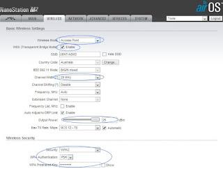 setting menu wireless Ubiquiti NanoStation M2 / LOCO
