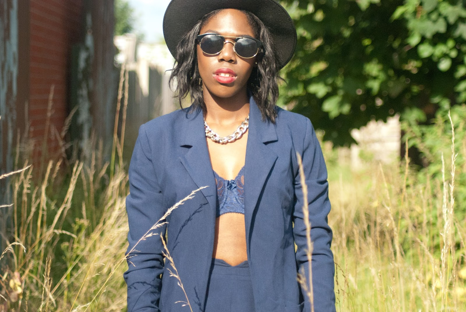 Debenhams Fantasie Bra Outfit_Review_Giveaway, Missguided navy co-ord, missguided navy blazer, missguided navy shorts, Boohoo Fedora, Asos Sunglasses, Debenhams Lingeriea