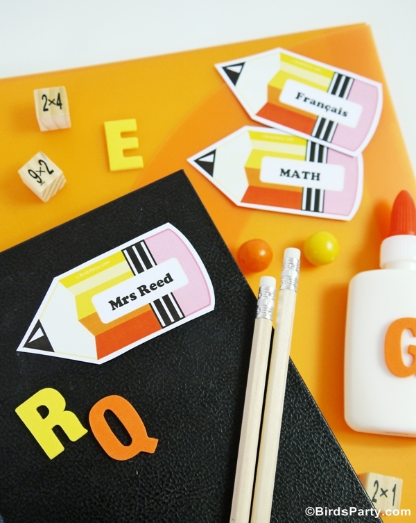 Back to School Free Printable and Editable Name Tags - BirdsParty.com