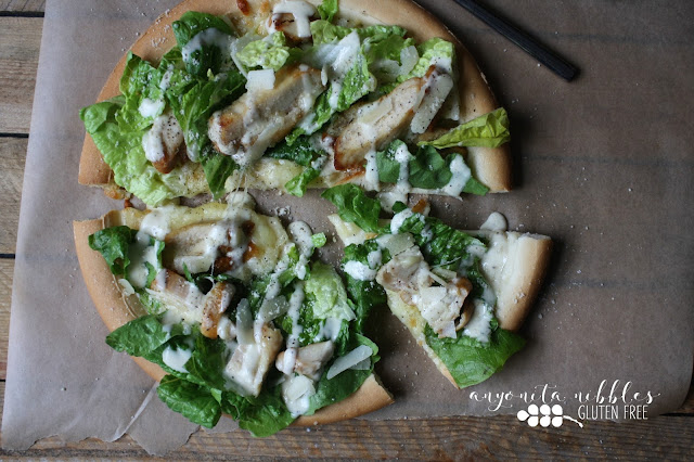 Gluten Free Chicken Caesar Salad Pizza