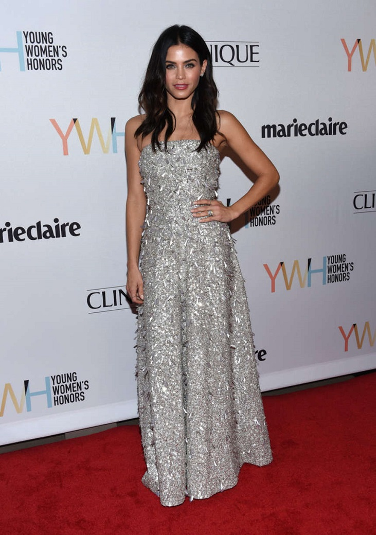 Jenna Dewan dazzles in strapless silver at the Young Women's Honors in Marina Del Rey