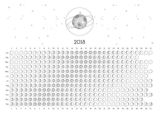 Moon Phases Calendar 2018, Lunar Calendar 2018, Moon Phases 2018 Calendar, 2018 Moon Phases Calendar