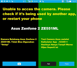 Camera Asus Zenfone 2 ZE551ML error can not be used.