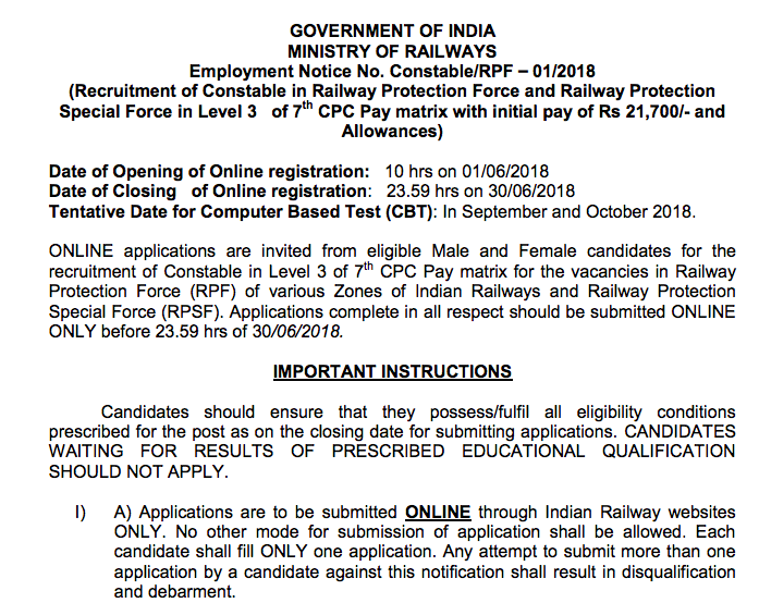 Indian Railway Recruitment Notification Pdf
