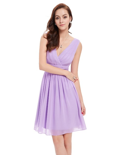 Short Sleeveless Party Dress with V-Neck (Price:$39.99)
