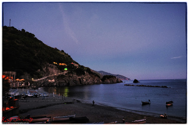 The boat harbour at twilight, Monterosso al Mar, Cinque Terre,  Italy. Photo by Kent Johnson