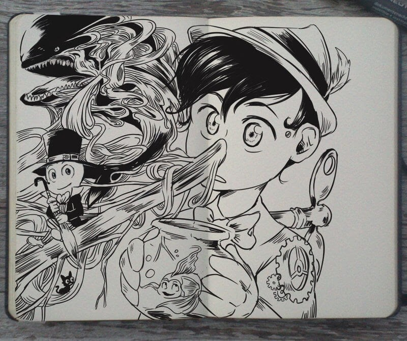 07-Pinocchio-and-Jiminy-Cricket-Gabriel-Picolo-Disney-Fantasy-Ink-Drawings-in-Moleskine-Illustrations-www-designstack-co