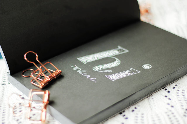 What can you do with a beautiful black notebook, white Sakura gelly rolls, some beautiful agate coasters and a couple of rose gold wire paper clips?