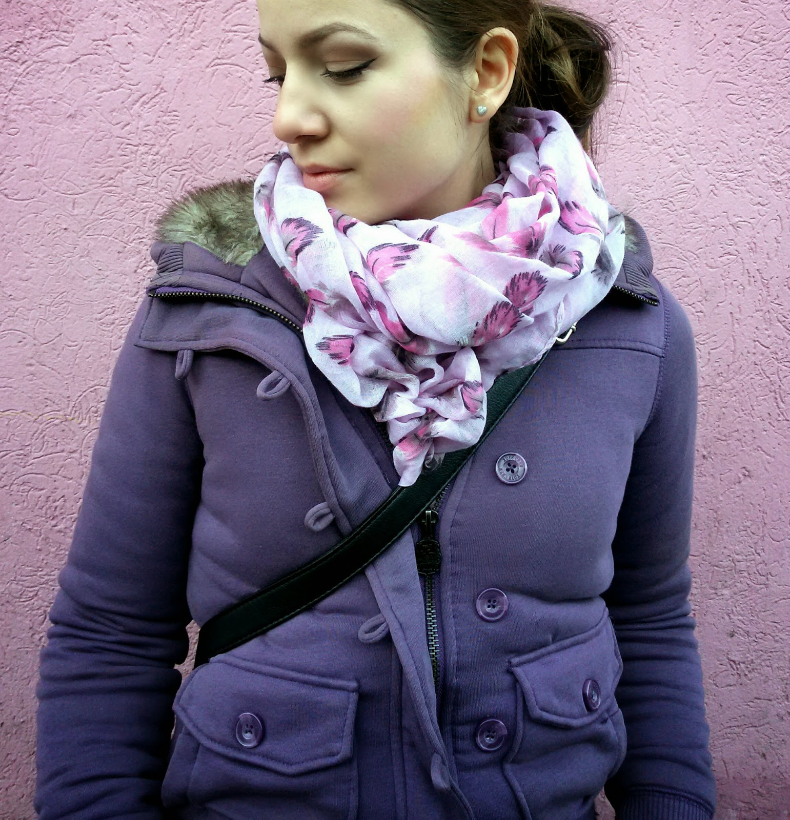 outfit, orthodox christmas, pull and bear purple jacket, c&a purple and black sweater, terranova boyfriend jeans, black combat boots, dr martens boots, new yorker feather print scarf