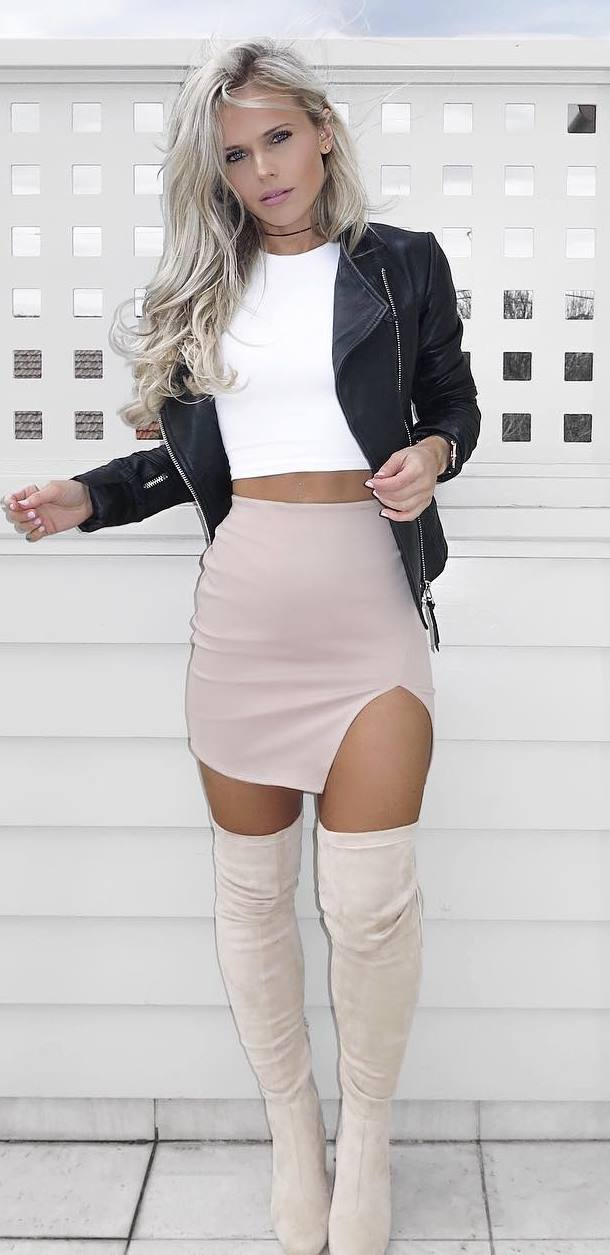 what to wear with nude over knee boots : biker jacket + top + blush skirt