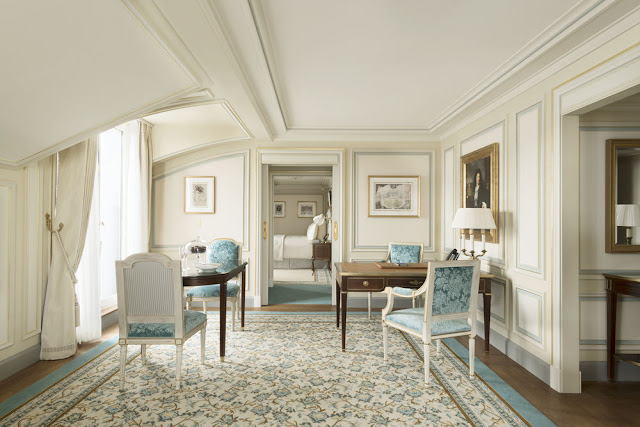 Beautiful blue and cream guest suite at Ritz Paris Hotel