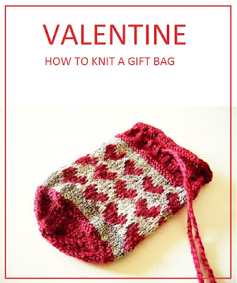 Bag with hearts knitting pattern, gift idea for Valentine's Day