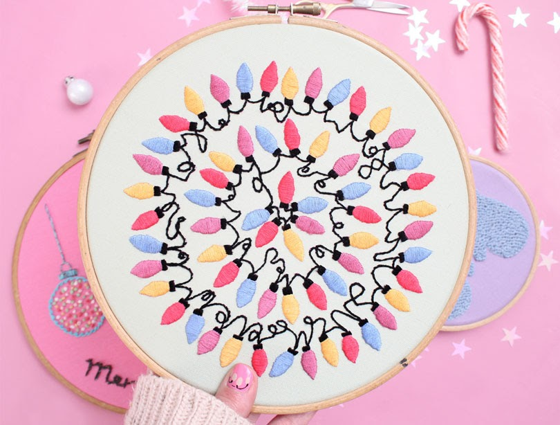 christmas embroidery hoop art lights