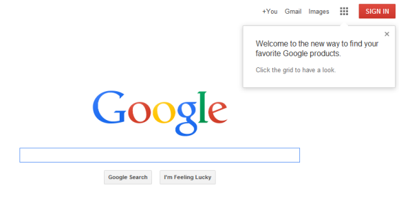 Try google 39 s new logo and navigation menu - Google home page design ...