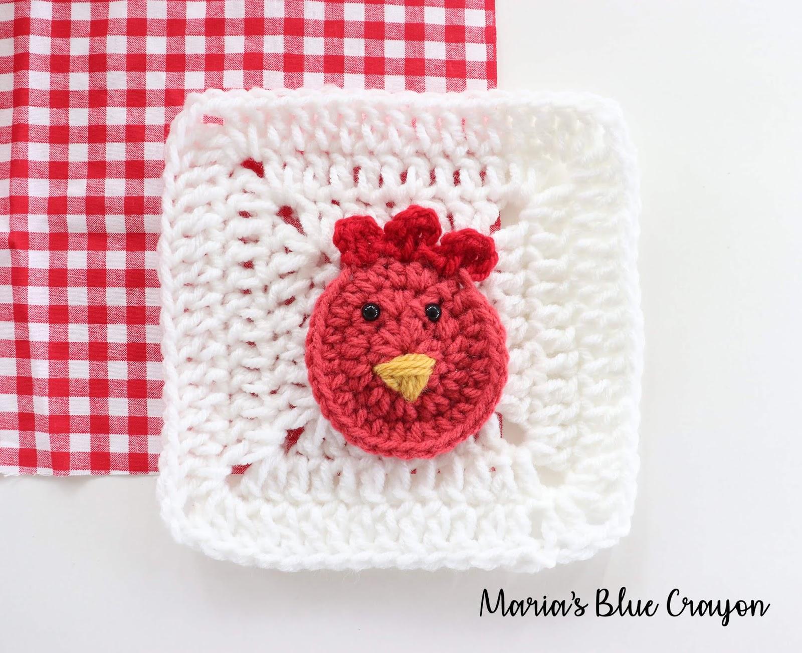 Crochet Rooster Applique Free Crochet Pattern Marias Blue Crayon
