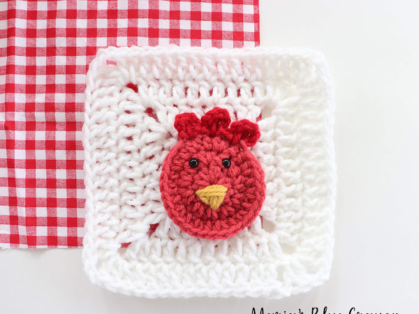Crochet Rooster Applique - Free Crochet Pattern