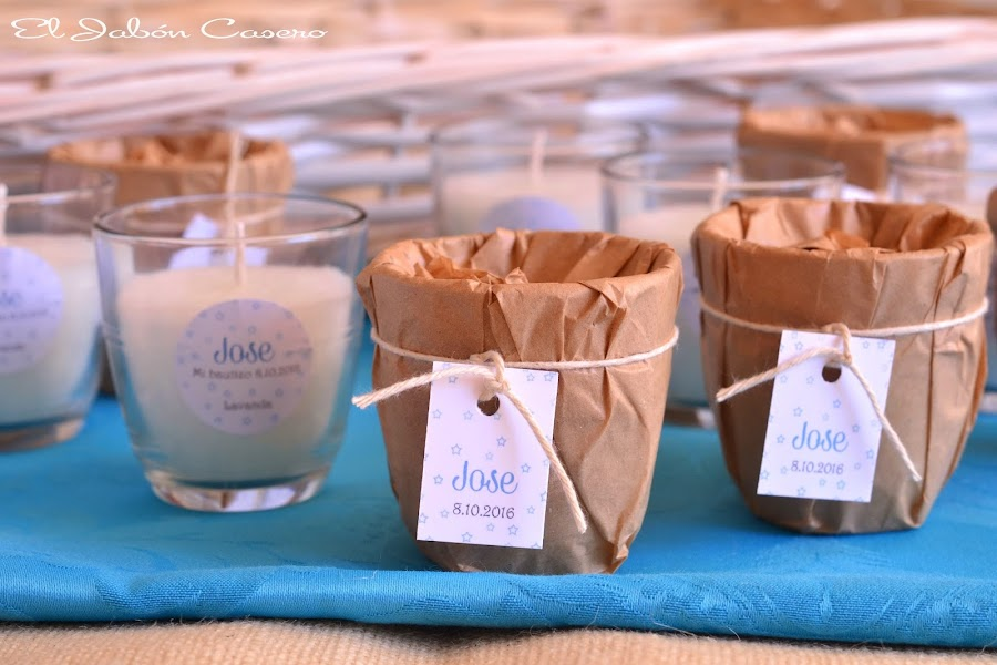 Detalles para bautizos velas perfumadas lavanda