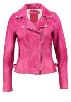 Immagine di giacca in pelle colo rosa forte