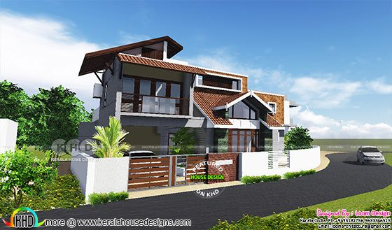 2650 square feet 4 bedroom modern sloping roof home