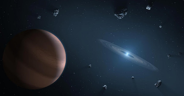 Artists impression of white dwarf star (on right) showing dust disc, and surrounding planetary bodies. Credit: NASA