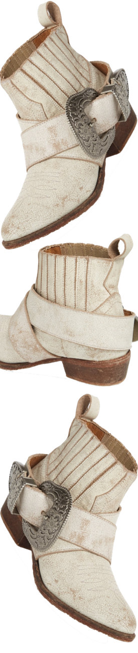Matisse Western Biker Bootie shown in White Leather
