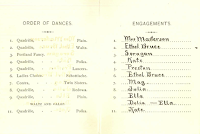 Dartmouth Hotel Ball 1884 dance card