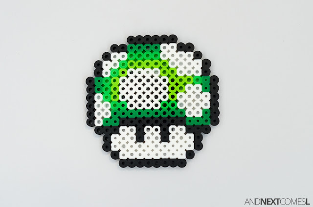 Super Mario World 1 up mushroom perler bead craft from And Next Comes L