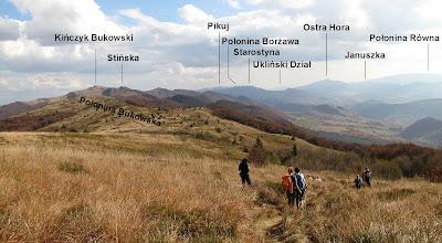 Panorama na zejściu z Rozsypańca na Przełęcz Bukowską.