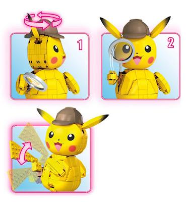 MEGA CONSTRUX : Pokemon Detective Pikachu Figura Detective Pikachu  Juego de Construcción  Producto Oficial Película 2019 | Mattel GGK28 | Piezas: 271 | Edad: +8 años  COMPRAR ESTE JUGUETE