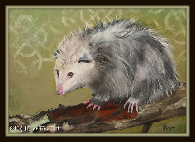 pastel painting opossum possum ncwren 30in30