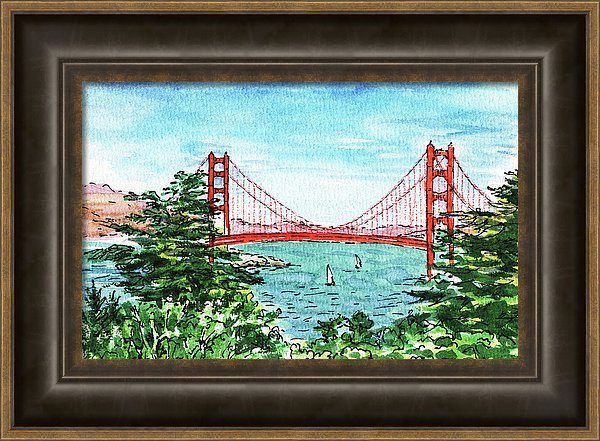 Golden Gate Bridge Painting by Irina Sztukowski framed art