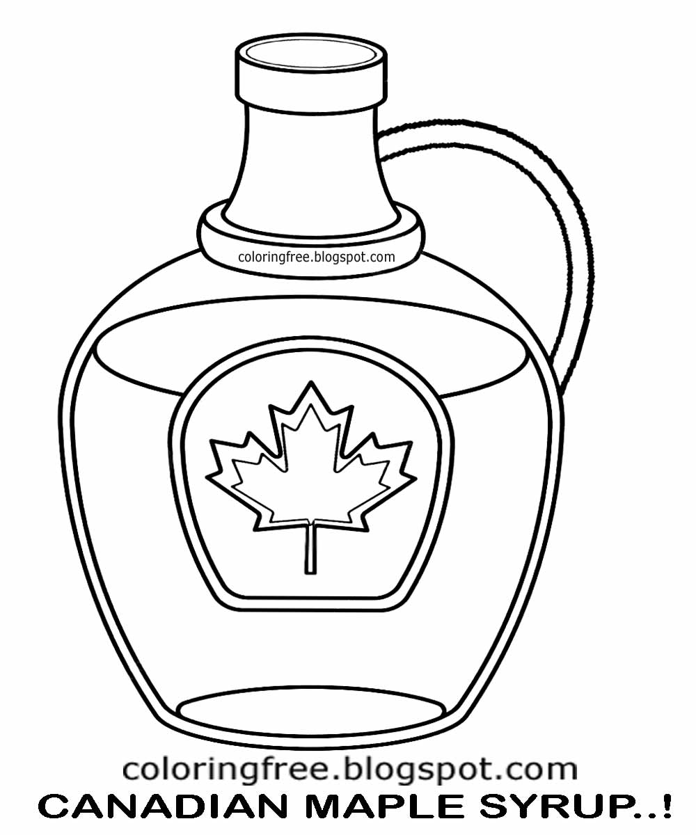 Clipart Natural Food From Canada Coloring Pages For Kids Canadian Maple Tree Syrup Bottle Printable
