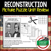 Reconstruction Picture Puzzle,  TEST PREP, UNIT REVIEWS, TEST REVIEWS, and STUDY GUIDES