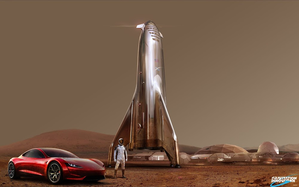 SpaceX Starship, Starman and Tesla Roadster at Mars Base Alpha by Gravitation Innovation