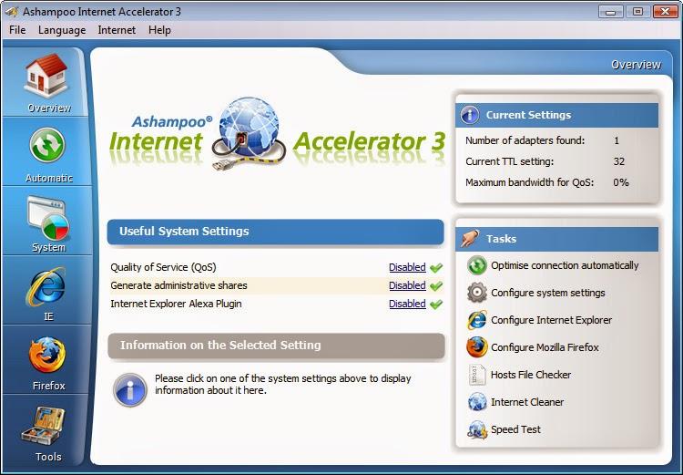Ashampoo internet accelerator v3. 3. 20' in software site | scoop. It.