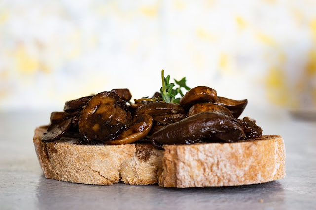 Balsamic mushroom on toast with fried egg